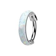 Micro Segmentring klappbar silber seitlich Opal streifen...