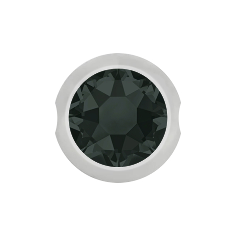 Ball Closure Kugel silber mit Kristall schwarz