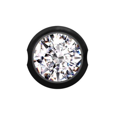 Ball Closure Kugel schwarz mit Kristall silber