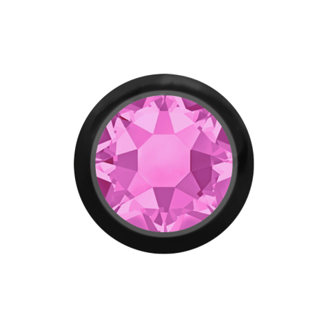 Kugel schwarz mit Kristall pink