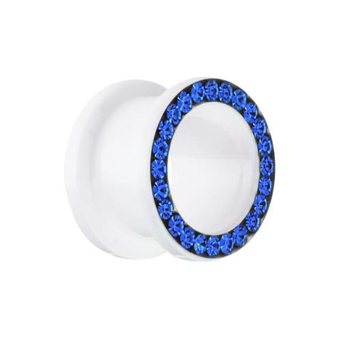Flesh Tunnel weiss mit Kristall dunkelblau
