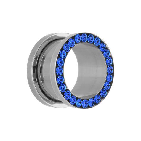 Flesh Tunnel silber mit Kristall dunkelblau