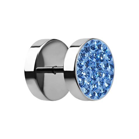 Fake Plug mit Kristall hellblau