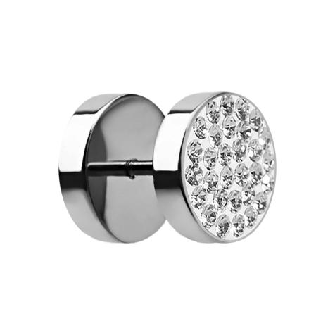 Fake Plug mit Kristall silber