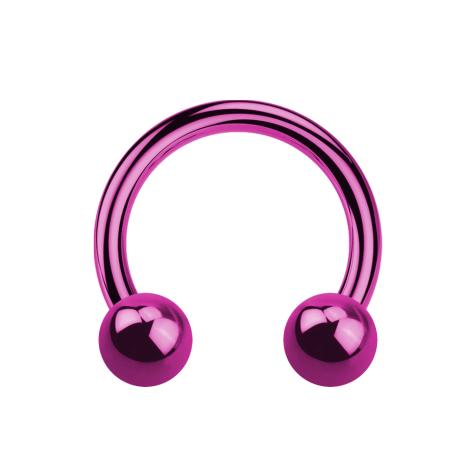 Micro Circular Barbell pink mit zwei Kugeln