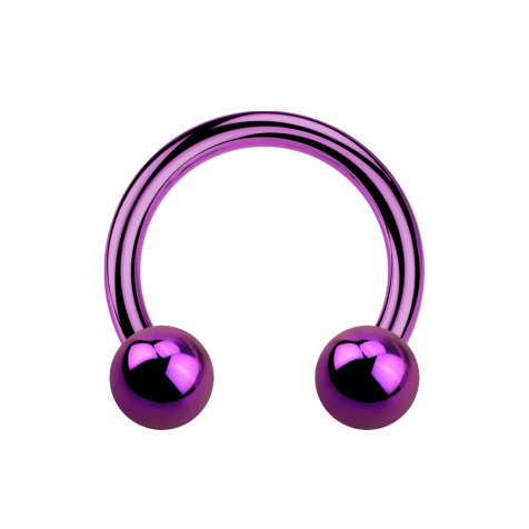 Micro Circular Barbell violett mit zwei Kugeln