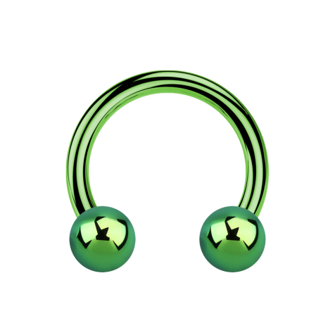 Micro Circular Barbell grün mit zwei Kugeln