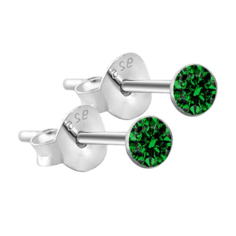 Ohrstecker rund aus 925 Sterlingsilber mit Kristall grün