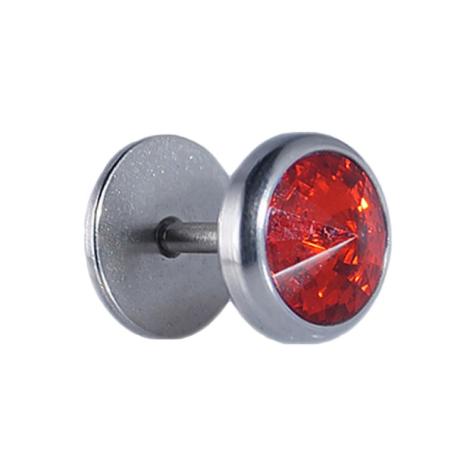Fake Plug silber mit Kristall rot