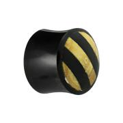 Flared Plug aus schwarzem Horn mit Holzeinlage