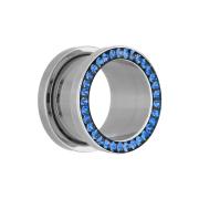 Flesh Tunnel silber mit Kristall dunkelblau und Epoxy Schutzschicht